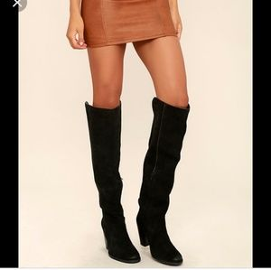 Mia Nigel black suede leather knee high boots